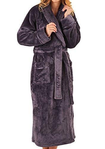 315e9b99252cf Slenderella Ladies Super Soft Thick Fleece Dressing Gown Luxury Shawl  Collar Bath Robe Large (Grey): Amazon.co.uk: Clothing