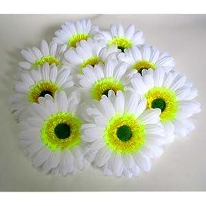 "(100) BIG Silk White Gerbera Daisy Flower Heads , Gerber Daisies - 3.5"" - Artificial Flowers Heads Fabric Floral Supplies Wholesale Lot for Wedding Flowers Accessories Make Bridal Hair Clips Headbands Dress 89"