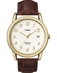Timex Men's T2M441GP Dress Classic Natural Dial and Brown Leather Strap