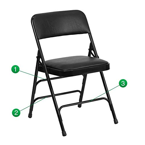 Flash Furniture HERCULES Series Curved Triple Braced & Double Hinged Black Vinyl Metal Folding Chair by Flash Furniture