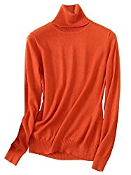 Nawongsky Women S Turtleneck Long Sleeves Slim Fit Lightweight Cashmere Pullover Sweater Orange Us Xl Tag 4xl