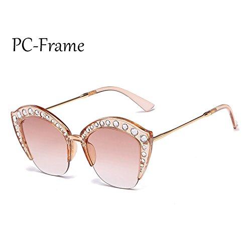 Mujer Frame C6 gato PC PC Rhinestone de de ojo G161 sol de Gafas Sunglasses tonos marco Marco Medio gafas de C2 sexy señoras TL nwqTXYgB
