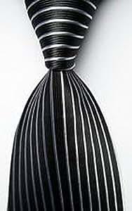 MINDoNG Daily Striped Black White JACQUARD WOVEN Silk Men's Tie Necktie GAG # 33052