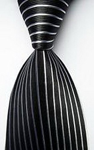 MINDoNG Daily Striped Black White JACQUARD WOVEN Silk Men's Tie Necktie GAG # 33052