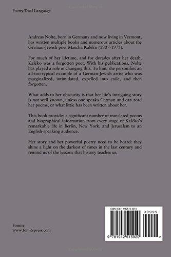 Mascha The Poems Of Mascha Kaléko Amazones Andreas Nolte