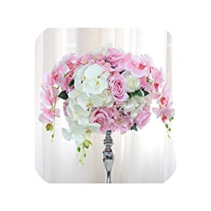 Customize 40cm/50cm Table centerpieces Ball Decor DIY Wedding Backdrop Artificial Flower Ball Orchid Silk Floral artificials 1pc,Pink,50cm