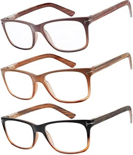 Reading Glasses 3 Pack Great Value Quality Fashion Wood-Look Men and Women Unisex Glasses for Reading