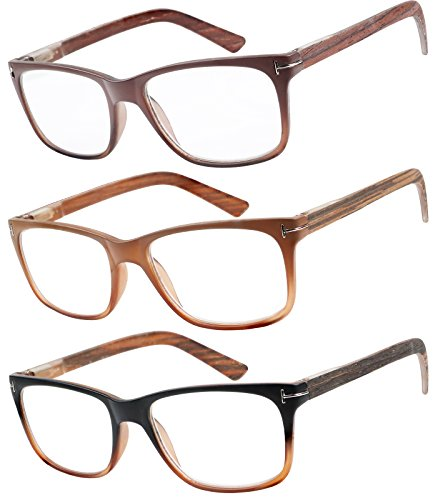 Reading Glasses 3 Pack Great Value Quality Readers Fashion Wood-Look Men and Women Unisex Glasses for Reading - Wood Eyewear