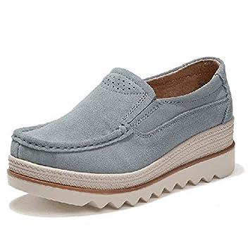 ZHRUI Talones Grandes Zapatos de Mujer Rocker Sole Mocasines Casuales de Cuero (Color : Gris, tamaño : EU 41): Amazon.es: Hogar