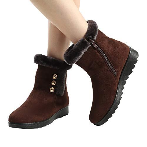 Toimothcn Women's Ladies Winter Keep Warm Faux Fur Lining Ankle Short Snow Boots Fur Footwear (BrownB,40) ()