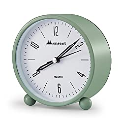 Alarm Clock.Mensent 4 inch Round Silent Analog Alarm Clock Non Ticking,with Night Light, Battery Powered Super Silent Alarm Clock, Simple Design Beside/Desk Alarm Clock (Blue)