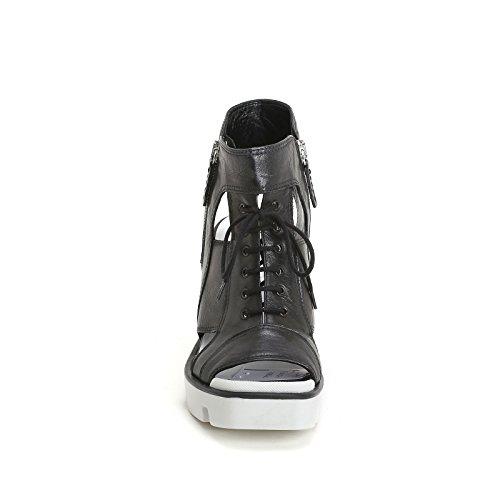 ALESYA by Scarpe&Scarpe - Botines altos con cordón, aperturas y suela militar Negro