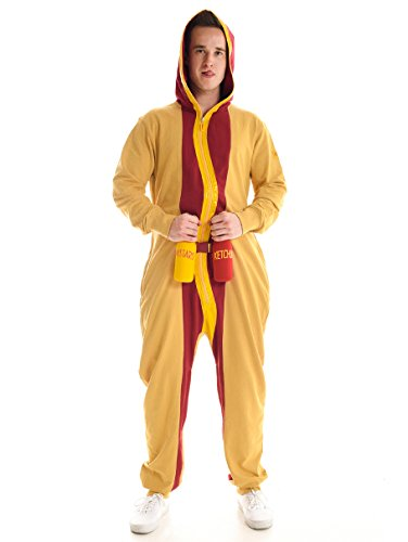 Men's Hotdog Jumpsuit - Hot Dog Halloween Costume for Men: Large - Hot Dog Costume Ideas