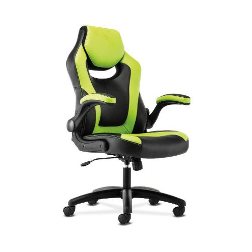 basyx by HON Racing Gaming Computer Chair- Flip-Up Arms, Black and Green Leather (HVST914) by HON