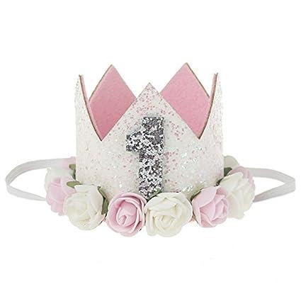 Merssavo Baby Girl 1st Birthday Party Hat Flower Princess Crown Decor Hair Accessories