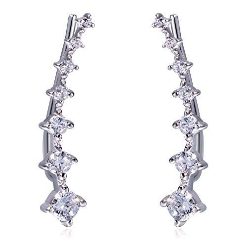Slide White Earrings - S.Leaf CZ Ear Crawler Cuff Earrings Sterling Silver Minimal 7 Diamond Ear Climber Earrings (white)