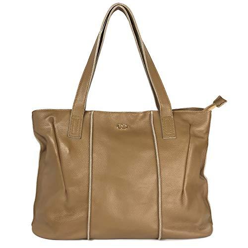 Leather Handbag Cow Skin - CHERRY CHICK Women's Genuine Cow Skin Tote Bag Large Capacity Soft Handbag Stylish Casual Shoulder Bag (Apricot Gelato-9316)