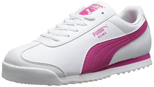 PUMA Roma Basic Kids Sneaker (Toddler/Little Kid/Big Kid) , White/Fuchsia Purple, 10 M US Toddler (Puma Roma Basic Kids)