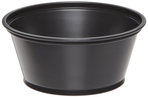 Dixie P032BLK Plastic Souffle Cup, 3.25oz Capacity, Matte Black (12 Packs of 200)