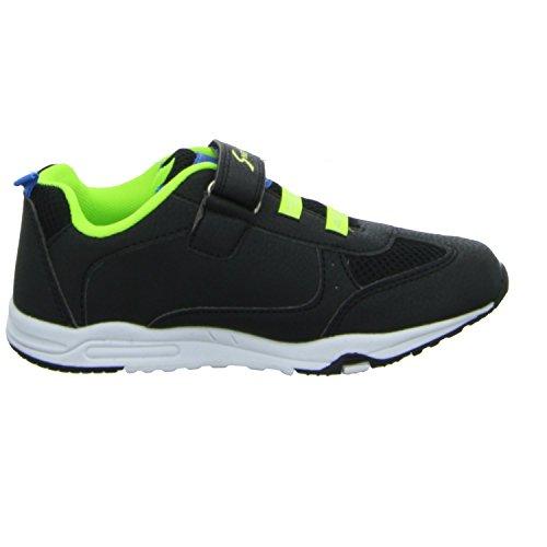 Sneakers JJ3604B Jungen Klettverschluss/Slipper Halbschuh blau (blau/neon-grün)
