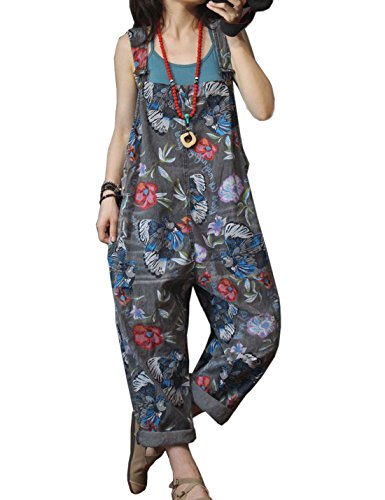 (Flygo Women's Loose Baggy Floral Printed Cotton Wide Leg Jumpsuits Rompers Overalls Harem Pants (One Size, Style 10 Grey))