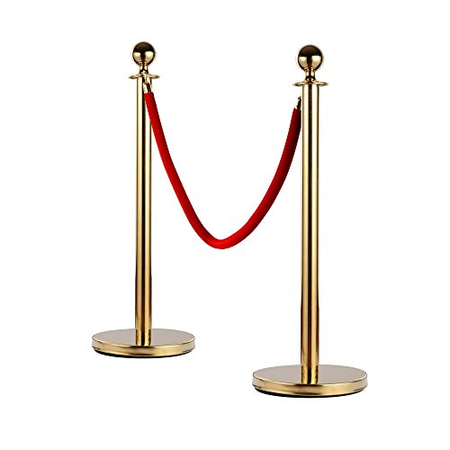 LEADZM 2PCS Heavy Duty Stainless Steel Queue Pole Stanchion, Crowd Control Stanchion Security Fence Barrier with Ball Top and Retractable Red Flannel Chenille Belt Rope, Gold