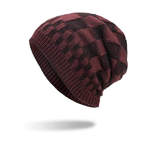 CHIDY Men Lattice Cotton Hats Unisex Warm Winter Knit Cap Plaid Stitching Outdoor Sports Hat
