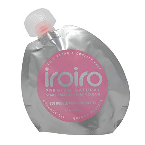 IROIRO Premium Natural Semi-Permanent Hair Color 200 Pastel Bubble Gum Pink (4oz)