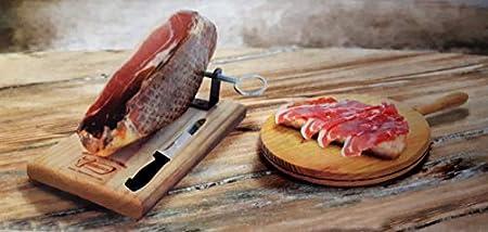 Hermanos - Juego de cortar jamón (tabla de madera con soporte de fijación + 1 cuchillo de rosca, se vende sin jamón)