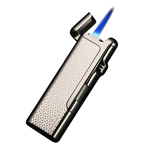 Jet Lighter, Cigarette, Pipe, Cigar Lighter Windproof Turbo Twin Flame Gas Butane Refillable Torch Lighter, Metal for Man (Sold Without Gas) -