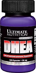 Ultimate Nutrition DHEA-Dehydroepiandrosterone Capsules, 50 mg, 100-Count Bottles (Pack of 2)
