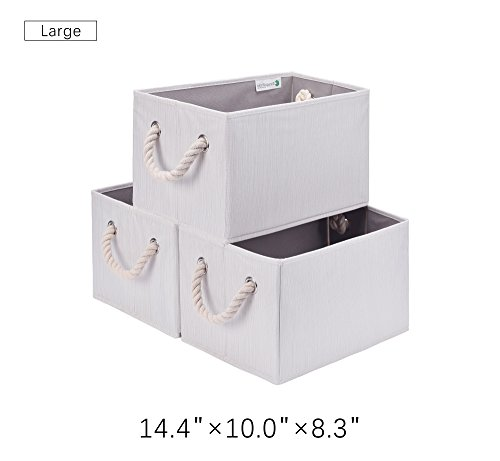 StorageWorks Polyester Storage Bin with Strong Cotton Rope Handle, Foldable Storage Basket, White, Bamboo Style, Large, 3-Pack