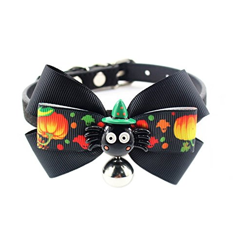 (Stock Show Pet Necklace Collar Charm, 1Pc Halloween Leather Pumpkin Lamp Bowknot Collar with Bell Outfits Accessories for Small Medium)