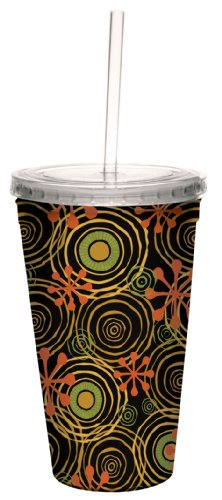 Tree-Free Greetings 80226 Swirly Halloween by Debbie Mumm Artful Traveler Double-Walled Acrylic Cool Cup with Reusable Straw, 16-Ounce ()
