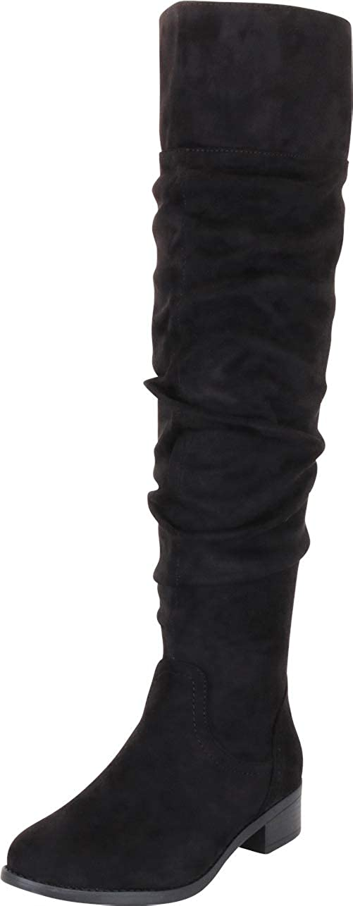 Black Imsu Cambridge Select Women's Classic Ruched Slouch Low Heel Knee-High Boot