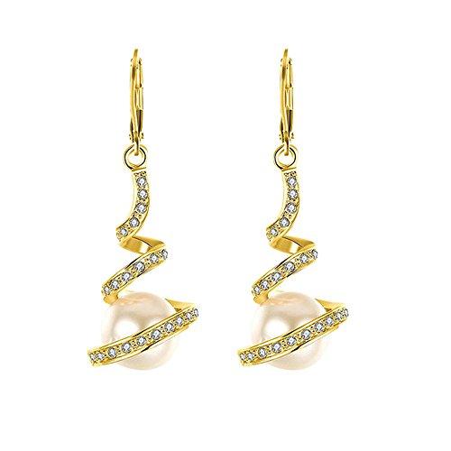(LODDD New Gold Plated Imitation Pearl Spiral Design Zircon Hoop Drop Women Earrings Jewelry)