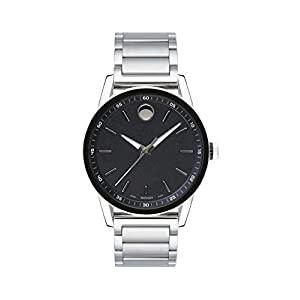 Movado Men's Museum Sport Stainless Steel Watch with a Printed Index Dial, Silver/Black (0607225)