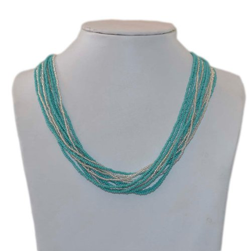 Turquoise,Silver Multi Stands Handmade Beaded Necklace,glass seed beads, NC4