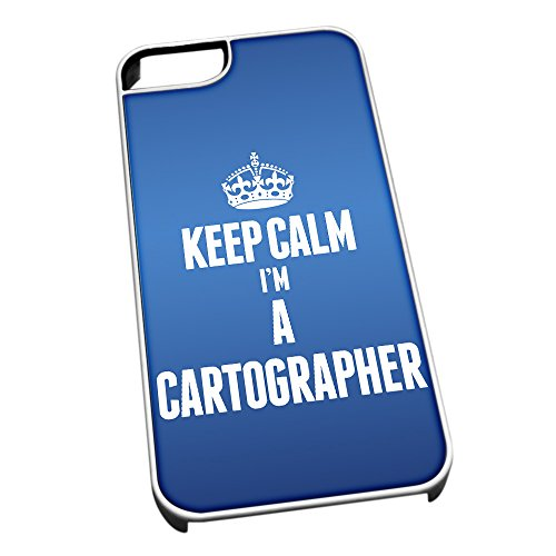 Bianco cover per iPhone 5/5S blu 2546 Keep Calm I m A Cartographer