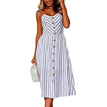Assivia Womens Summer Floral Print Strap Casual Button Midi Dress with Pockets