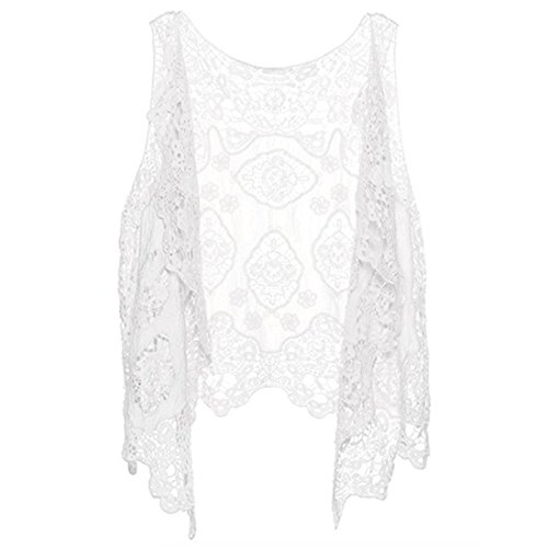Link Cardigan Stitch (Neal LINK Women Crochet Lace Vest Open Stitch Cardigan Boho Floral Hollow Out Stitch Hippie Blouse (White))