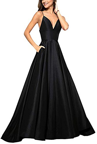 Womens Spaghetti Strap V Neck Prom Dresses Long 2019 A-line Satin Formal Evening Ball Gowns with Pockets Black