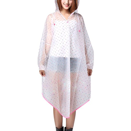 Women's Zhhlinyuan Hooded Fashion Dots Pink Style Raincoat Transparent amp;purple Rain Cape xPgPwqFY7