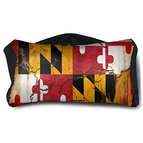Travel Pillow, Voyage Pillow Eye Mask 2 in 1 Portable Convertible Rest Neck Support Pillows Ergonomic Best Travel Pillows for Airplanes, Car Vintage Wooden Maryland Flag