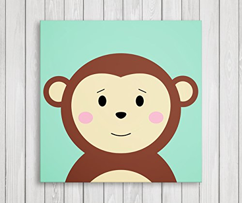 Cute Little Animals Nursery Wall Decor, Baby Room Canvas Art (11'' W x 11'' H, Monkey) by Emin Decor