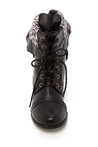 Women's Fold Over Albert Cuff Charles Black Cablee with Leopard Boot Combat 5WUR1nqR