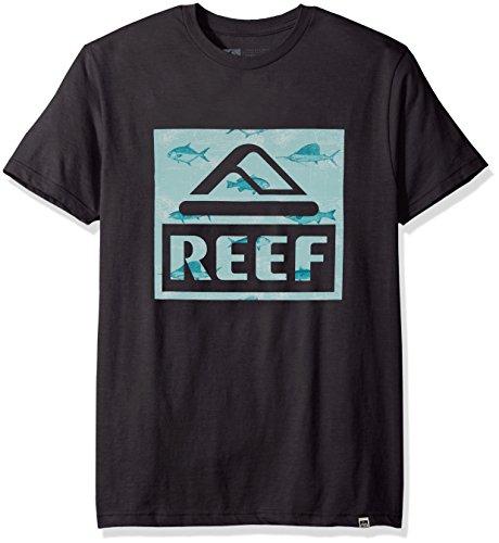 Reef Men's Logo T-Shirt, map Faded Black, Medium