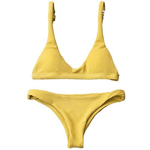 (ZAFUL Women Padded Scoop Neck 2 Pieces Push Up Swimsuit Revealing Thong Bikinis V Bottom Style Brazilian Bottom Bra Sets (S, Yellow) )