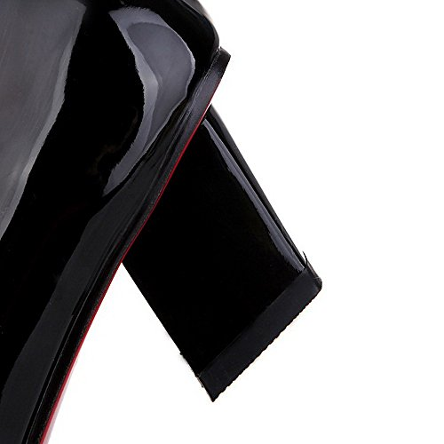 Toe Pull Solid WeiPoot Kitten Women's Black Square Heels Shoes Pu On Closed Pumps qwwItag