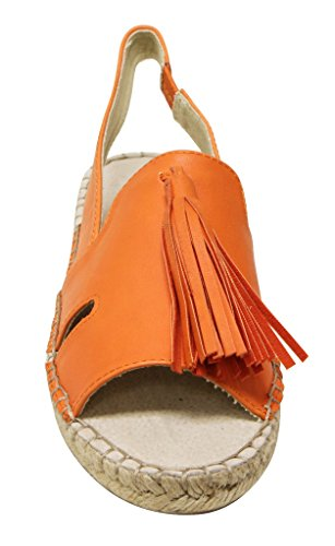 C Flat Sandals Espadrille Slip Orange Elastic On 2 Cider Womens Tassel Label pawTp
